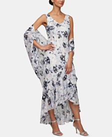 Alex Evenings Ruffled High-Low Gown & Shawl