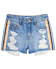 Epic Threads Big Girls Striped Distressed Cotton Denim Shorts, Created for Macy's