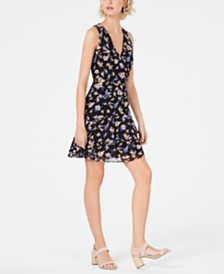 Bar III Floral Sleeveless Ruffle-Skirt Dress, Created for Macy's