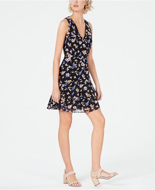 Bar III Floral Sleeveless Ruffle-Skirt Dress, Created for Macy's