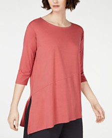 Eileen Fisher Asymmetrical Vented-Hem Tencel ™ Top, Regular & Petite, Created for Macy's