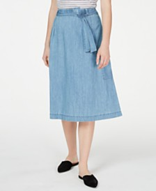 Eileen Fisher Cotton Belted Pull-On Skirt, Created for Macy's