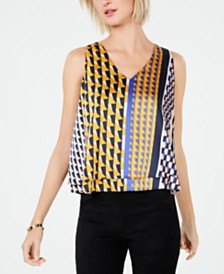 Bar III Printed Double-Ruffle Sleeveless Top, Created for Macy's