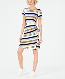 Bar III Striped Drawstring-Side Dress, Created for Macy's