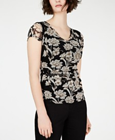 I.N.C. Petite Printed Ruched Top, Created for Macy's