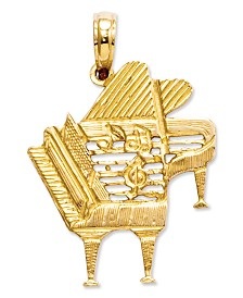 14k Gold Charm, Piano Charm