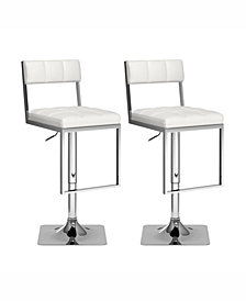 Corliving Square Tufted Leatherette Adjustable Barstool, Set of 2