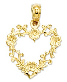14k Gold Charm, Floral Cut-Out Heart Charm