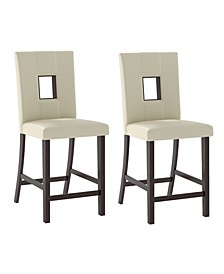 Leatherette Counter Height Dining Chairs, Set of 2