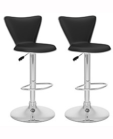 Tapered Back Adjustable Barstool in Leatherette, Set of 2