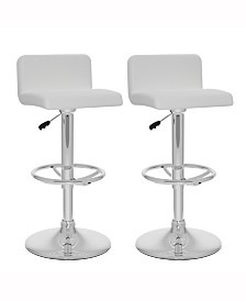 Corliving Low Back Adjustable Barstool in Leatherette, Set of 2