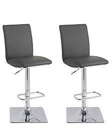 Corliving Adjustable High Back Barstool in Bonded Leather, Set of 2