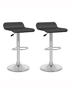 Corliving Curved Seat Adjustable Barstool in Leatherette, Set of 2