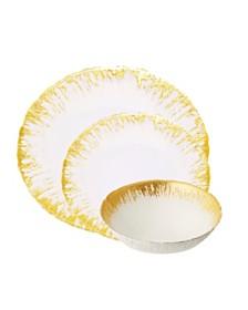 Classic Touch 12 Piece Milky Glass Dinnerware Set