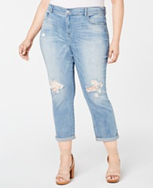I.N.C. Plus Size Tummy-Control Lace-Patch Boyfriend Jeans, Created for Macy's