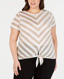 I.N.C. Plus Size Metallic Stripe Tie-Hem Top, Created for Macy's