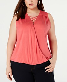I.N.C. Plus Size Lace-Up Surplice Top, Created for Macy's
