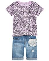 f0bb7c4dfd6a Epic Threads Toddler Boys Graffiti-Print T-Shirt   Denim Shorts Separates