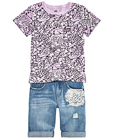 Epic Threads Toddler Boys Graffiti-Print T-Shirt & Denim Shorts Separates, Created for Macy's