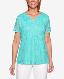 Alfred Dunner Classics Lace-Front Split-Neck Top
