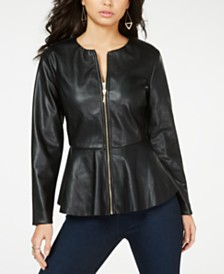 516077fce0c5 Thalia Sodi Faux-Leather Peplum-Hem Jacket