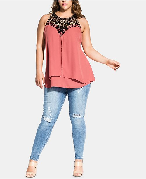 e9c3f57d8fb City Chic Trendy Plus Size Crochet-Yoke Top   Reviews - Tops - Plus ...