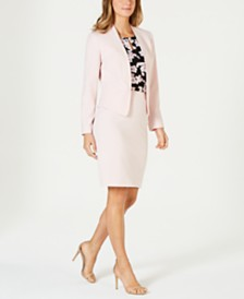 Nine West Kiss-Front Jacket, Printed Top & Pencil Skirt