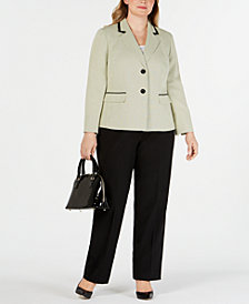 Le Suit Plus Size Two-Button Dot-Print Pantsuit