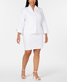 Le Suit Plus Size Chiffon-Trim Jacquard Skirt Suit