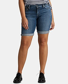 Elyse Denim Bermuda Relaxed Curvy-Fit Shorts