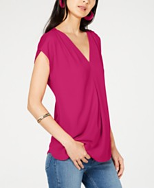 0c26f7382b8 I.N.C. Inverted-Pleat V-Neck Top