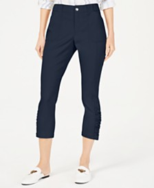 I.N.C. Curvy Ruched-Hem Cropped Pants, Created for Macy's