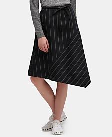 DKNY Striped Asymmetrical-Hem Skirt With Faux-Leather Belt