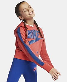 Nike Big Girls Cropped Air-Print Fleece Hoodie