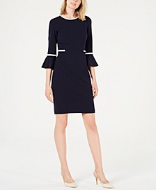 Piped Bell-Sleeve Sheath Dress