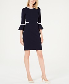 Calvin Klein Piped Bell-Sleeve Sheath Dress