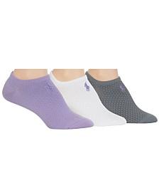 Polo Ralph Lauren Women's 3-Pk. Honeycomb Microfiber Sneaker Liner Socks