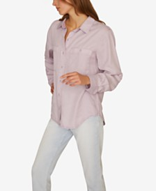 Sanctuary Steady Boyfriend Solid Cotton Shirt