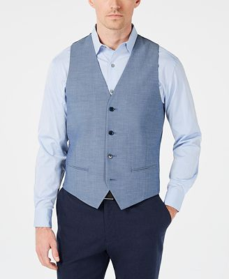 Alfani Red Men's Slim-Fit Performance Stretch Light Blue Vest, Created for Macy's