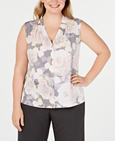 0fa362a9e559 Calvin Klein Plus Size Sleeveless V-Neck Top