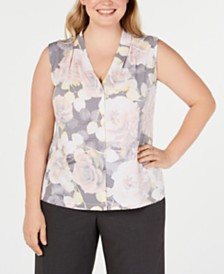 Calvin Klein Plus Size Sleeveless V-Neck Top