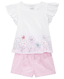 First Impressions Baby Girls Peony Flutter Top & Shorts Separates, Created for Macy's