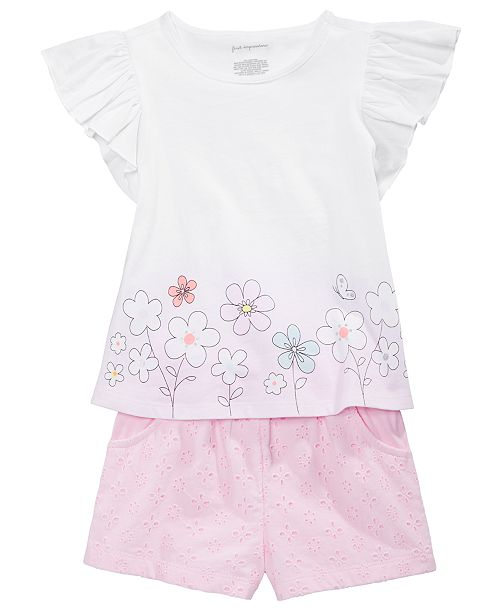 First Impressions Toddler Girls Peony Flutter Top & Shorts Separates, Created for Macy's