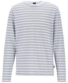 BOSS Men's Striped Long-Sleeve Cotton T-Shirt