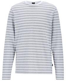 BOSS Men's Striped Long-Sleeve Cotton T-Shirt