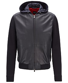 BOSS Men's Regular/Classic Fit Hooded Leather Jacket