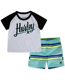 Baby Boys 2-Pc. T-Shirt & Striped Swim Trunks Set