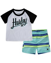 1b46817231996 Hurley Baby Boys 2-Pc. T-Shirt & Striped Swim Trunks Set