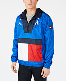 Tommy Hilfiger Men's Gaff Colorblocked 1/4-Zip Hooded Logo Jacket, Created for Macy's
