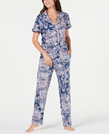 Sesoire Printed Knit Short-Sleeve Top and Pajama Pants Set